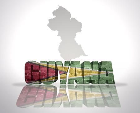 guyanese: Word Guyana with National Flag near map of Guyana