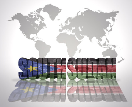 south sudan: Word South Sudan with South Sudan Flag on a world map background