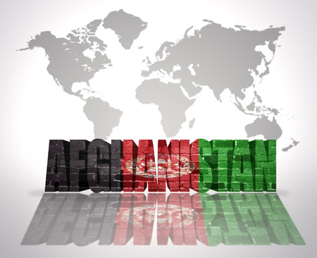 afghan flag: Word Afghanistan with Afghan Flag on a world map background Stock Photo