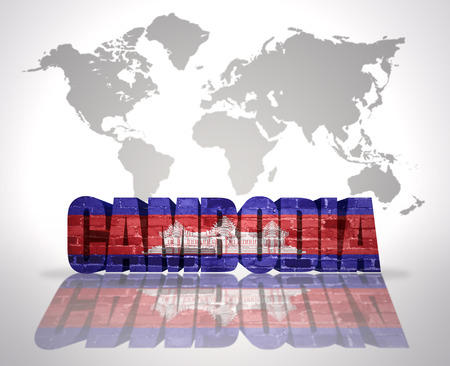 cambodian flag: Word Cambodia with Cambodian Flag on a world map background
