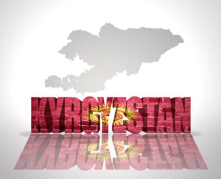 kyrgyzstan: Palabra Kirguist�n con la bandera nacional de cerca mapa de Kirguist�n Foto de archivo