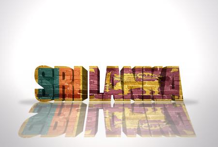 sri: Word Sri Lanka with National Flag on the white background