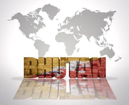 bhutan: Word Bhutan with Bhutan Flag on a world map background