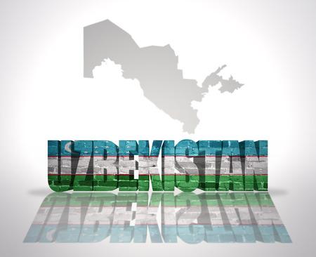 uzbekistan: Word Uzbekistan with National Flag near map of Uzbekistan