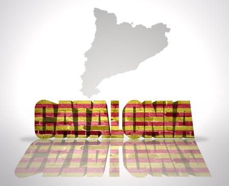catalonia: Word Catalonia with National Flag near map of Catalonia Stock Photo