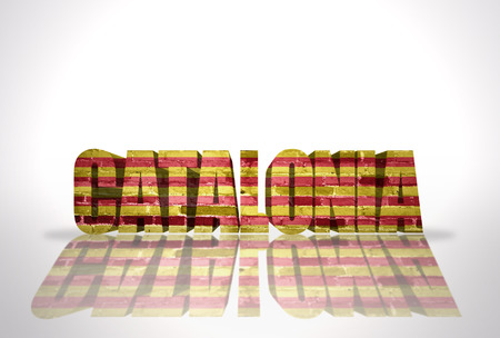 Word Catalonia with National Flag on the white background photo