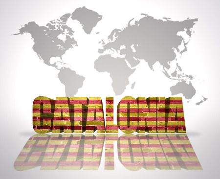 catalonia: Word Catalonia with Catalan Flag on a world map background