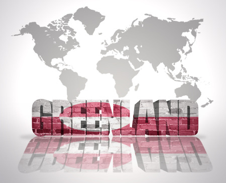 greenlandic: Word Greenland with Greenlandic Flag on a world map background