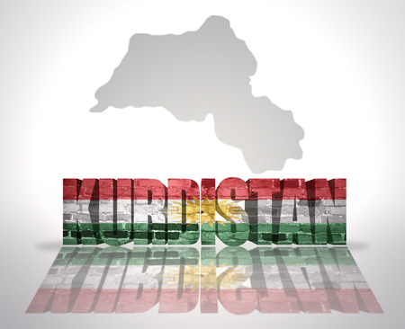 near: Word Kurdistan with National Flag near map of Kurdistan Stock Photo