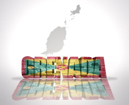 grenada: Word Grenada with National Flag near map of Grenada