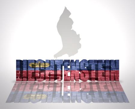 liechtenstein: Word Liechtenstein with National Flag near map of Liechtenstein