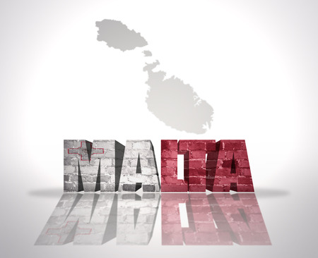 map malta: Word Malta with National Flag near map of Malta