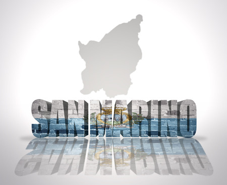 san marino: Word San Marino with National Flag near map of San Marino Stock Photo