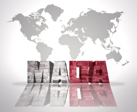 maltese map: Word Malta with Maltese Flag on a world map background