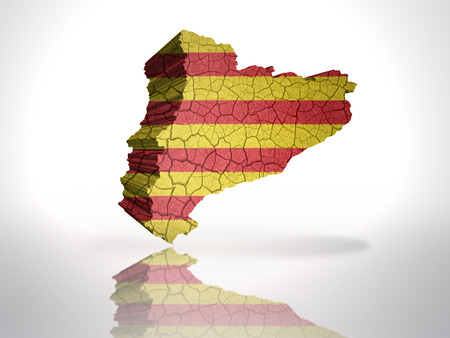 Map of Catalonia with Catalan Flag on a white background