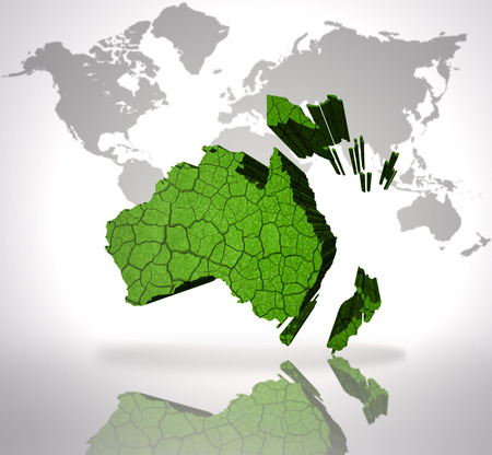 oceania: Map of Oceania on a world map background Stock Photo