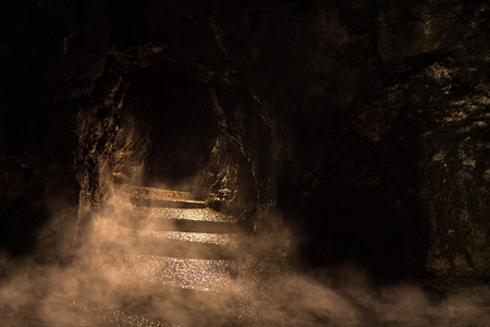 Ancient dark dungeon in the fog