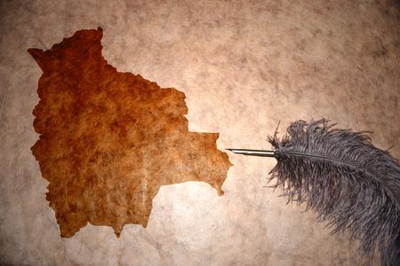 mapa de bolivia: Bolivia mapa en papel de �poca con pluma de edad