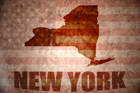 new york map on a vintage american flag background photo