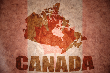 canada map on a vintage canadian flag background Stock fotó