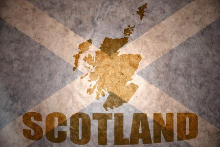 scottish flag: scozia mappa su un'annata scozzese sfondo di bandiera