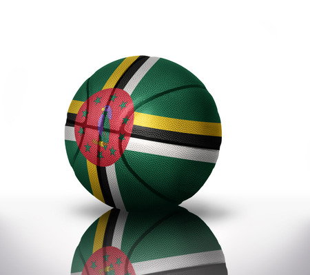 rapidity: basketball ball with the national flag of dominica on a white background