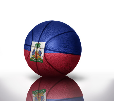 port au prince: basketball ball with the national flag of haiti on a white background Stock Photo