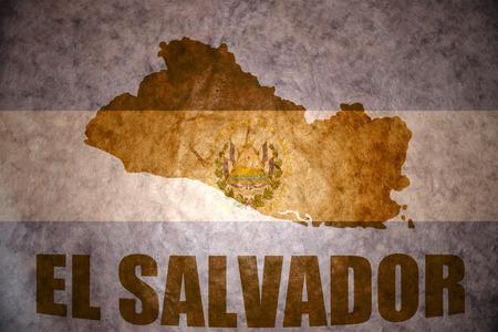 el salvadoran: el salvador map on a vintage salvadoran flag background