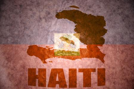 haitian: haiti map on a vintage haitian flag background Stock Photo