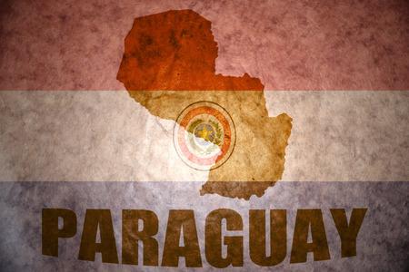 paraguay map on a vintage paraguayan flag background