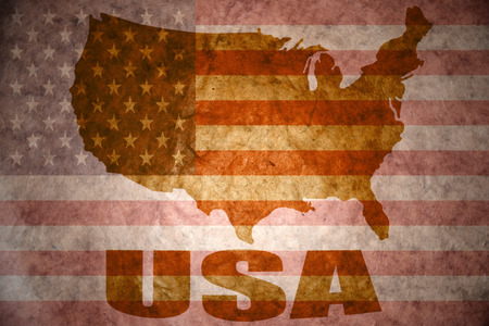 united states of america map on a vintage american flag background Stock fotó