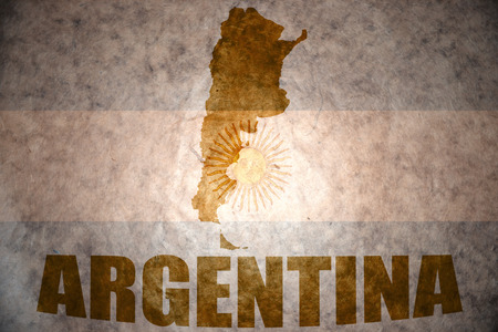 argentinean: argentina map on a vintage argentinean flag background