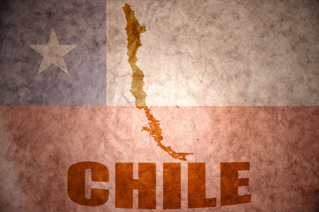 chilean flag: chile map on a vintage chilean flag background