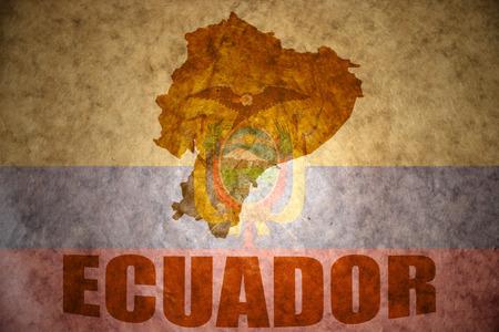 ecuadorian: ecuador map on a vintage ecuadorian flag background