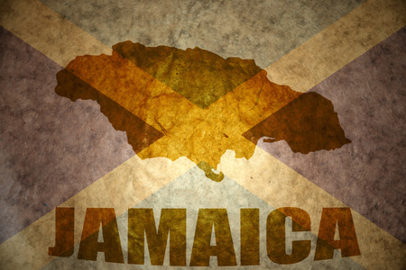 jamaica map on a vintage jamaican flag background Stock Photo