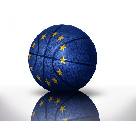 basketball ball with the national flag of european union on a white background Stock Photo