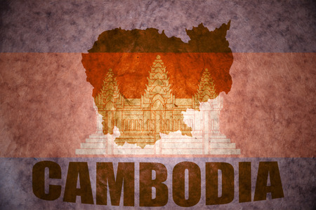 cambodian: cambodia map on a vintage cambodian flag background