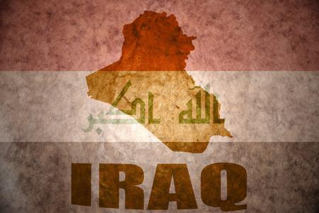 iraqi: iraq map on a vintage iraqi flag background Stock Photo