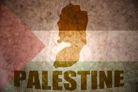 palestinian: palestine map on a vintage palestinian flag background