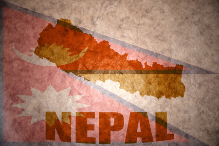 nepal map on a vintage nepali flag background