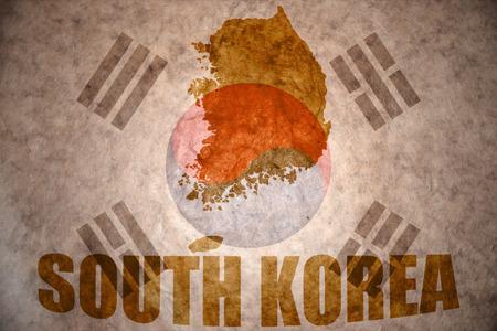south korea map on a vintage korean flag background