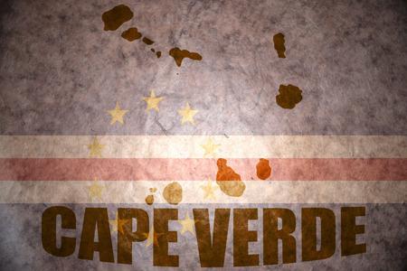 cape verde: cape verde map on a vintage cape verde flag background Stock Photo