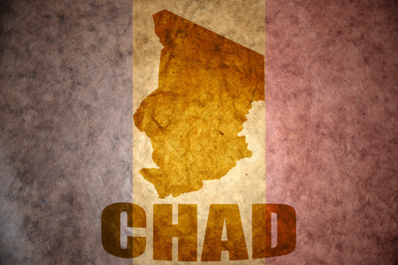 chad: chad map on a vintage chad flag background Stock Photo