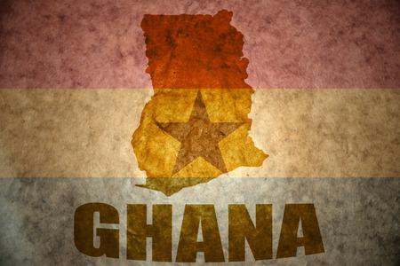 ghana map on a vintage ghanaian flag background