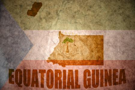 equatorial guinea: equatorial guinea map on a vintage equatorial guinea flag background Stock Photo