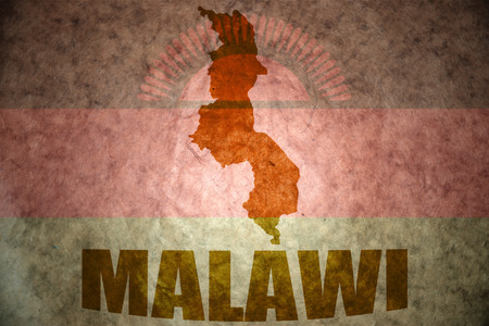 malawi flag: malawi map on a vintage malawi flag background