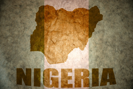 nigeria map on a vintage nigerian flag background