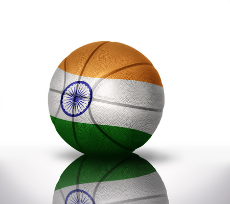 basketball ball with the national flag of india on a white background photo