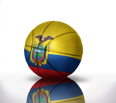 rapidity: basketball ball with the national flag of ecuador on a white background
