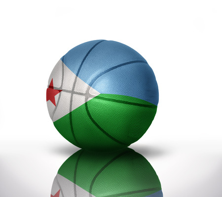 basketball ball with the national flag of djibouti on a white background Stock Photo